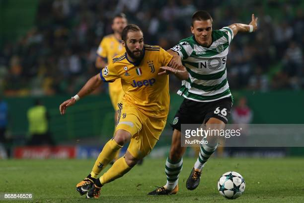 Juventus forward Gonzalo Higuain from Argentina and Sportings midfielder Joao Palhinha from Portugal during the match between Sporting CP v Juventus...