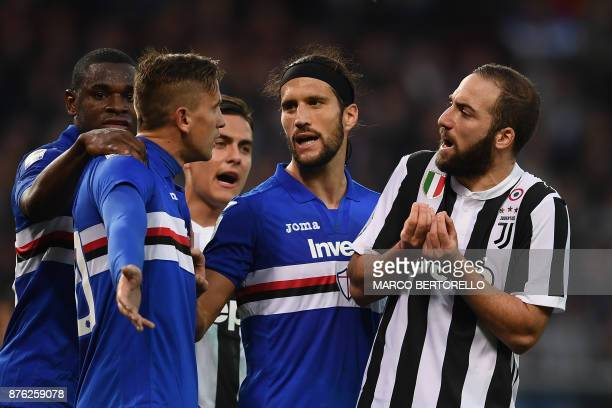 Juventus' forward Gonzalo Higuain from Argentina argues with Sampdoria's midfielder Gaston Ramirez from Colombia during the Italian Serie A football...