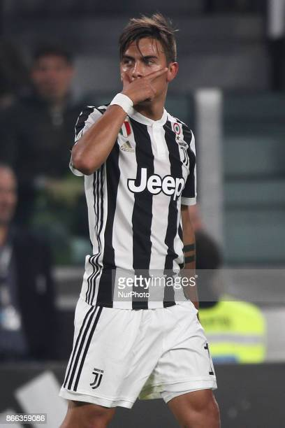 Juventus forward Paulo Dybala celebrates after scoring his goal during the Serie A football match n10 JUVENTUS SPAL on at the Allianz Stadium in...
