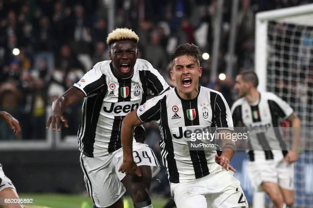 Juventus forward Paulo Dybala celebrates with Juventus forward Bioty Moise Kean after scoring his goal during the Serie A football match n28 JUVENTUS...