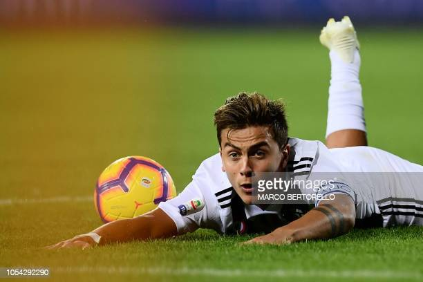 Juventus' forward Paulo Dybala from Argentina looks on during the Italian Serie A football match between Empoli and Juventus on October 27 2018 at...