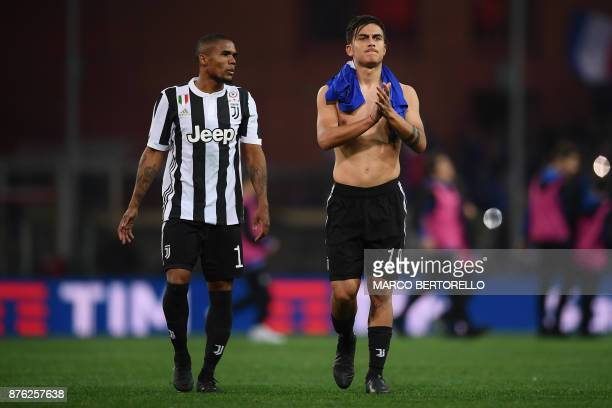 Juventus' forward Paulo Dybala from Argentina reacts at the end of the Italian Serie A football match Sampdoria Vs Juventus on November 19 2017 at...