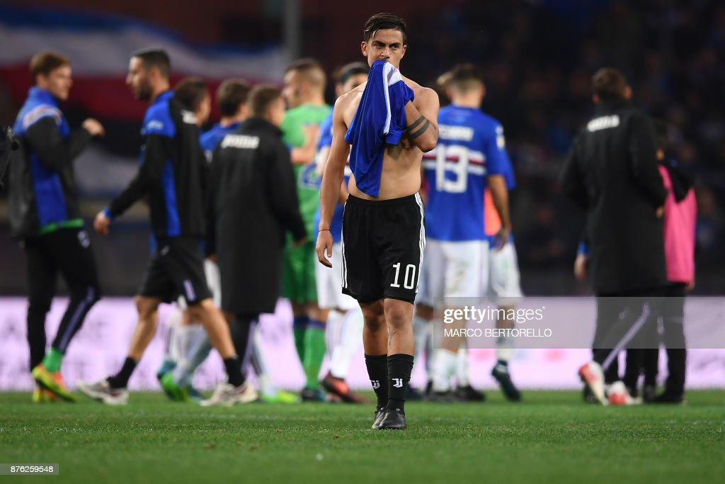 Juventus' forward Paulo Dybala from Argentina reacts at the end of the Italian Serie A football match Sampdoria Vs Juventus on November 19, 2017 at the 'Luigi Ferraris' Stadium in Genoa. Sampdoria won 3-2. /