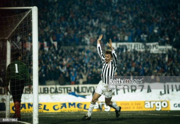 Juventus forward Zbigniew Boniek celebrates after scoring his 2nd goal in the UEFA Super Cup Final against Liverpool at the Stadio Comunale in Turin...
