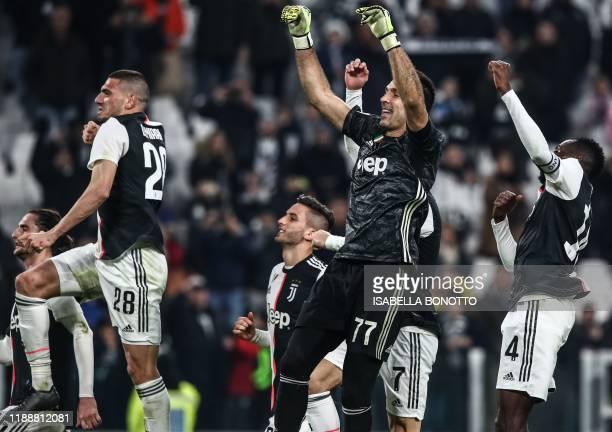 Juventus' French midfielder Adrien Rabiot Juventus' Turkish defender Merih Demiral Juventus' Uruguayan midfielder Rodrigo Bentancur Juventus' Italian...