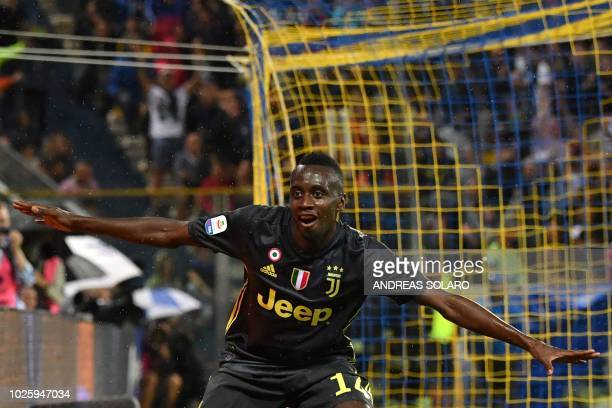 Juventus' French midfielder Blaise Matuidi celebrates after scoring a goal during the Italian Serie A football match Parma vs Juventus on September 1...