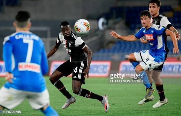 Juventus' French midfielder Blaise Matuidi eyes the ball during the TIM Italian Cup final football match Napoli vs Juventus on June 17, 2020 at the...