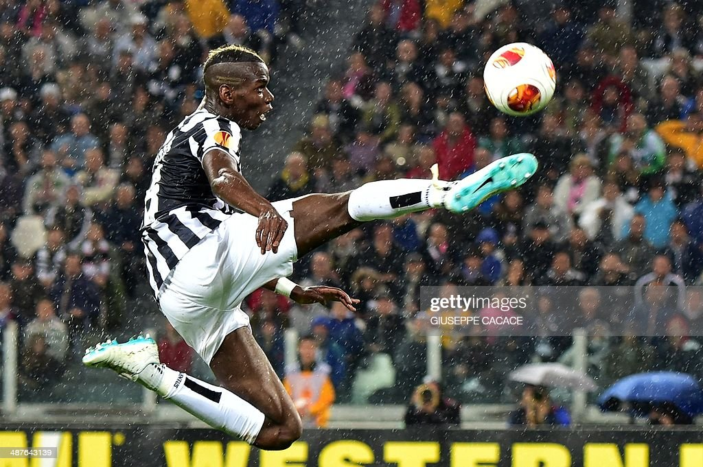 Juventus' French midfielder Paul Labile Pogba controls the ball during the UEFA Europa League semifinal football match Juventus vs Benfica on May 1st, 2014 at the Juventus Stadium in Turin.