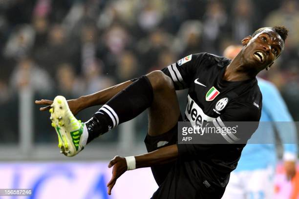 """Juventus' French midfielder Paul Pogba reacts during the Seria A football match between Juventus and Lazio at the """"Juventus Stadium"""" in Turin on..."""