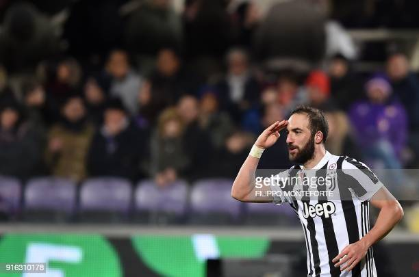 Juventus' FrenchArgentinian forward Gonzalo Higuain celebrates after scoring during the italian Serie A football match Fiorentina vs Juventus at the...