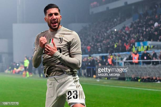 Juventus' German midfielder Emre Can celebrates after scoring during the Italian Serie A football match Sassuolo vs Juventus on February 10 2019 at...