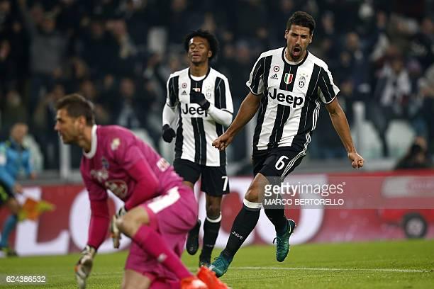 Juventus' German midfielder Sami Khedira celebrates after scoring a goal during the Italian Serie A football match between Juventus and Pescara at...