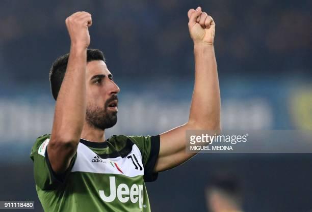 Juventus' German midfielder Sami Khedira celebrates after scoring during the Italian Serie A football match AC Chievo vs Juventus at the...