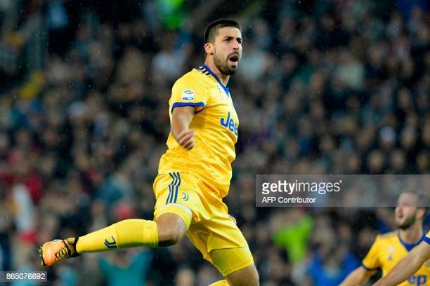 Juventus' German midfielder Sami Khedira celebrates scoring his team's fourth goal during the Italian Serie A football match Udinese vs Juventus at...