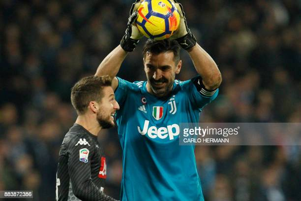 Juventus' goalkeeper from Italy Gianluigi Buffon jokes with Napoli's forward from Belgium Dries Mertens during the Italian Serie A football match...
