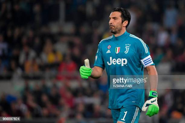 Juventus' goalkeeper from Italy Gianluigi Buffon reacts during the Italian Tim Cup final Juventus vs AC Milan at the Olympic stadium on May 9 2018 in...