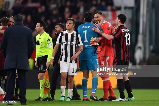 Juventus Goalkeeper Gianluigi Buffon and Milan goalkeeper Gianluigi Donnarumma at the end of the serie A match between Juventus and AC Milan at...