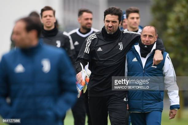 Juventus' goalkeeper Gianluigi Buffon attends a training session on the eve of the UEFA Champions League football match Real Madrid vs Juventus on...