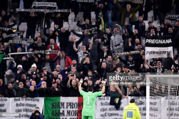 Juventus goalkeeper Gianluigi Buffon celebrate the victory with the supporters at the end of during the serie A match between Juventus and Atalanta...