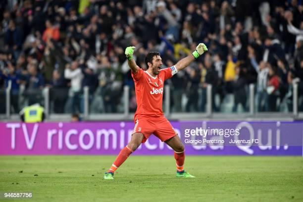 Juventus goalkeeper Gianluigi Buffon celebrates after the goal of 20 during the serie A match between Juventus and UC Sampdoria at Allianz Stadium on...