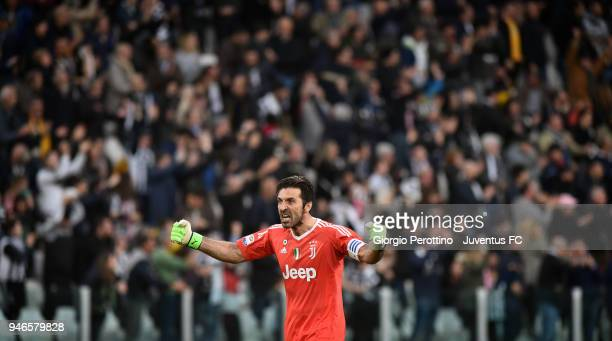 Juventus goalkeeper Gianluigi Buffon celebrates after the goal of his teammate Mario Mandzukic during the serie A match between Juventus and UC...
