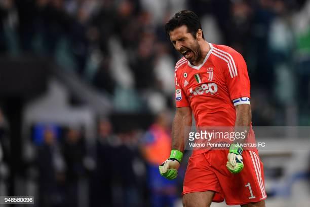 Juventus goalkeeper Gianluigi Buffon celebrates after the goal of his teammate Benedikt Howedes during the serie A match between Juventus and UC...
