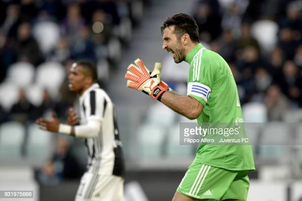 Juventus goalkeeper Gianluigi Buffon celebrates after the goal of Gonzalo Higuain during the serie A match between Juventus and Atalanta BC on March...