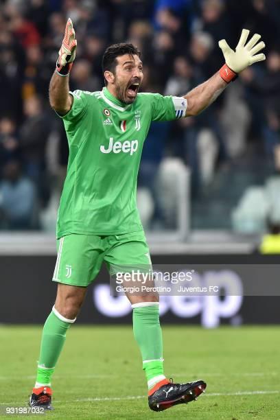 Juventus goalkeeper Gianluigi Buffon celebrates after the goal of Blaise Matuidi during the serie A match between Juventus and Atalanta BC on March...