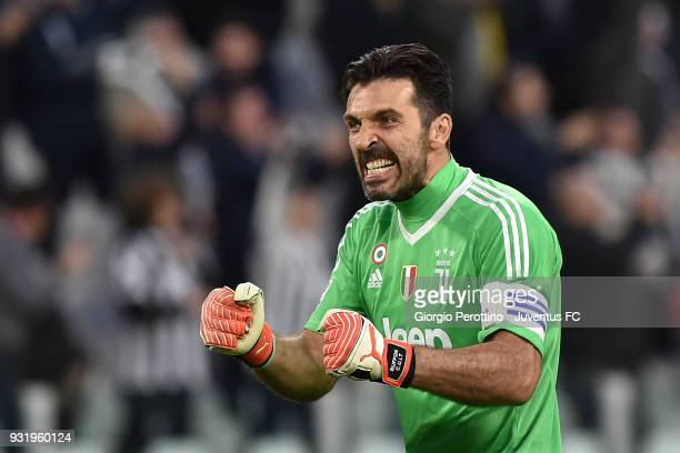 Juventus goalkeeper Gianluigi Buffon celebrates after the goal shot by Gonzalo Higuain during the serie A match between Juventus and Atalanta BC on...