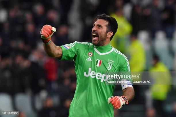Juventus goalkeeper Gianluigi Buffon celebrates the goal of his teammate Blaise Matuidi during the serie A match between Juventus and Atalanta BC on...
