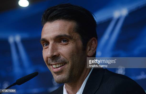 Juventus' goalkeeper Gianluigi Buffon delivers a speech during a press conference at Santiago Bernabeu stadium in Madrid on May 12 on the eve of the...