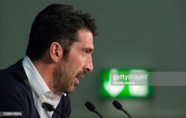 Juventus' goalkeeper Gianluigi Buffon delivers remarks during a press conference of Juventus FC at the Allianz Arena in Munich Germany 15 March 2016...
