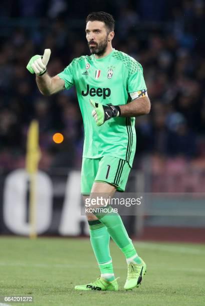 Juventus' goalkeeper Gianluigi Buffon during the Italian Serie A football match between SSC Napoli and FC Juventus at San Paolo Stadium in Naples