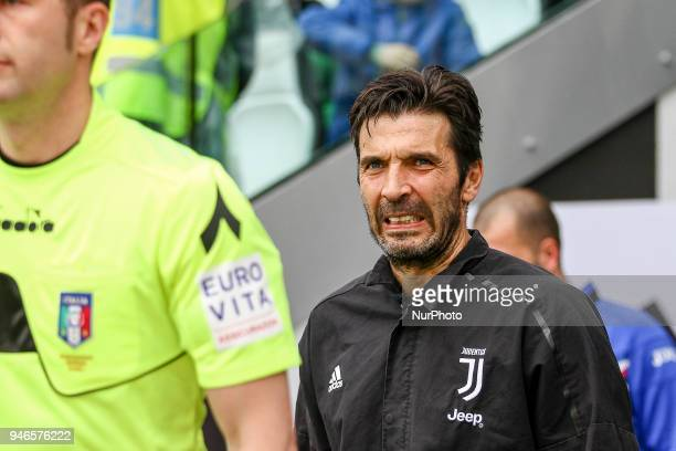 Juventus goalkeeper Gianluigi Buffon during the Serie A football match n32 Juventus and Sampdoria on 15 April 2018 at the Allianz Stadium in Turin...