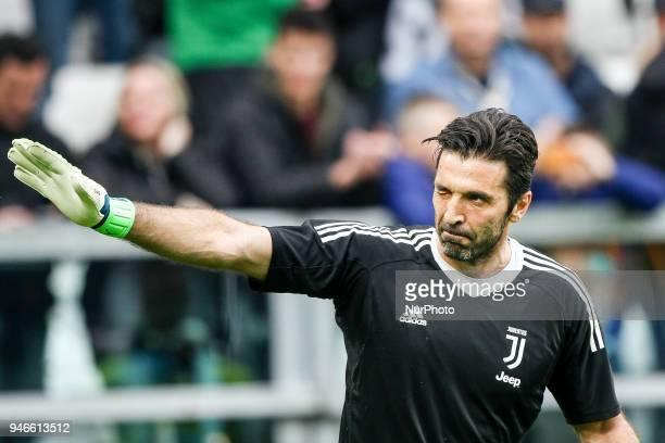 Juventus goalkeeper Gianluigi Buffon during the Serie A football match n32 Juventus FC and US Sampdoria at Allianz Stadium on 15 April 2018 in Turin...
