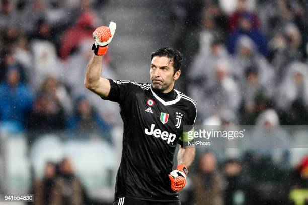 Juventus goalkeeper Gianluigi Buffon during the Uefa Champions League Round of 16 football match JUVENTUS - REAL MADRID on at the Allianz Stadium in...