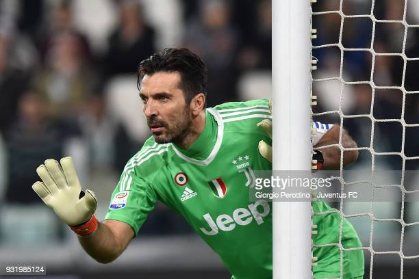 Juventus goalkeeper Gianluigi Buffon gestures during the serie A match between Juventus and Atalanta BC on March 14 2018 in Turin Italy