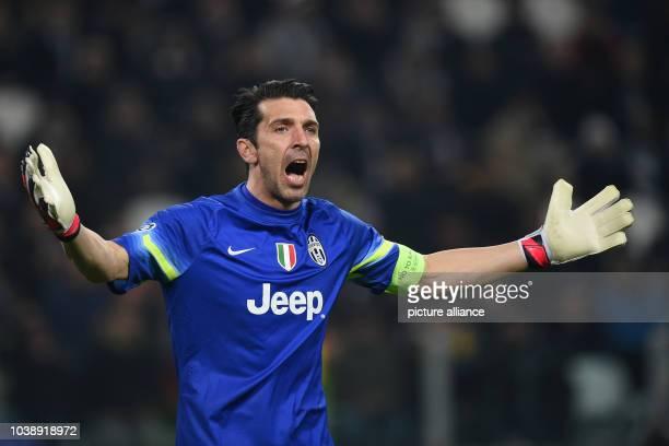 Juventus' goalkeeper Gianluigi Buffon gestures during the UEFA Champions League Round of 16 first leg soccer match between Juventus Turin and...
