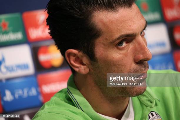 Juventus goalkeeper Gianluigi Buffon gives a press conference on February 23 2015 on the eve of the last 16 firstleg UEFA Champions League football...
