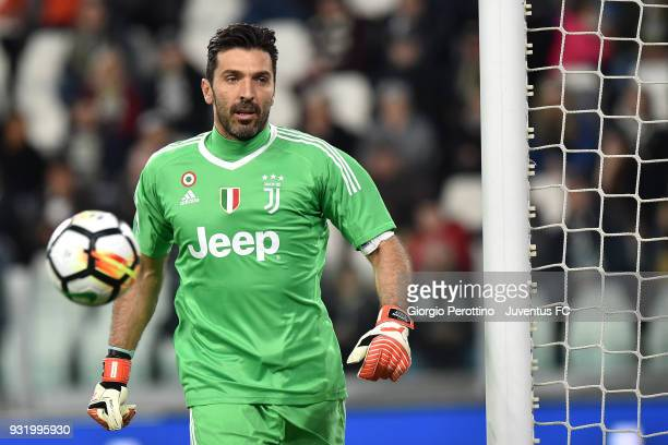 Juventus goalkeeper Gianluigi Buffon in action during the serie A match between Juventus and Atalanta BC on March 14 2018 in Turin Italy