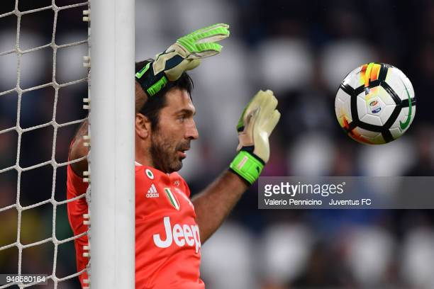 Juventus goalkeeper Gianluigi Buffon in action during the serie A match between Juventus and UC Sampdoria at Allianz Stadium on April 15 2018 in...