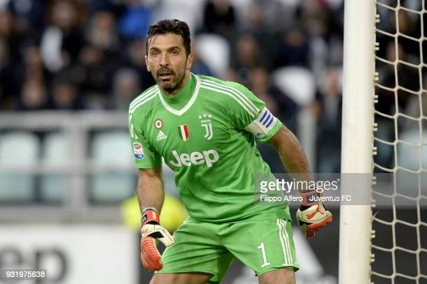Juventus goalkeeper Gianluigi Buffon looks on during the serie A match between Juventus and Atalanta BC on March 14 2018 in Turin Italy