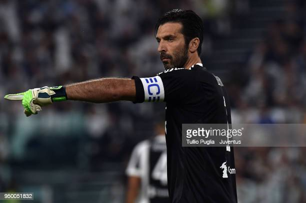 Juventus goalkeeper Gianluigi Buffon looks on during the serie A match between Juventus and SSC Napoli on April 22 2018 in Turin Italy