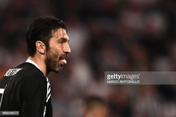 Juventus' goalkeeper Gianluigi Buffon reacts during the Italian Serie A football match between Juventus and Napoli on April 22 2018 at the Allianz...