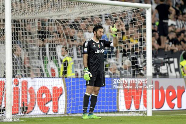 Juventus goalkeeper Gianluigi Buffon reacts during the serie A match between Juventus and SSC Napoli on April 22 2018 in Turin Italy