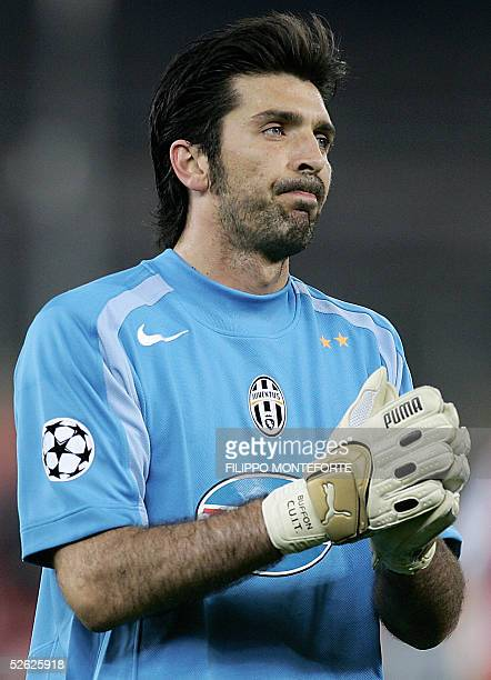 Juventus goalkeeper Gianluigi Buffon walks away from the pitch at the end of Champion's League quarter final second leg football match against...