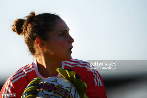 Juventus' goalkeeper Laura Giuliani looks on during the Women's Italian football match between Juventus and Sassuolo at Juventus Center on November...