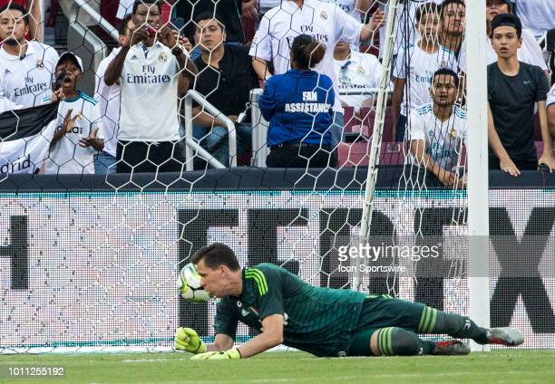 Juventus goalkeeper Wojciech Szczesny lets in an easy goal during an International Champions Cup match between Juventus and Real Madrid on August 4...