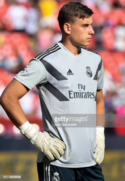 Juventus goalkeeper Wojciech Szczesny warms up prior to an International Champions Cup match between Real Madrid and Juventus on August 4 at FedEx...