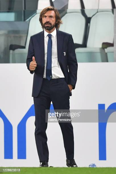Juventus head coach Andrea Pirlo gestures during the Serie A match between Juventus and UC Sampdoria at Allianz Stadium on September 20, 2020 in...